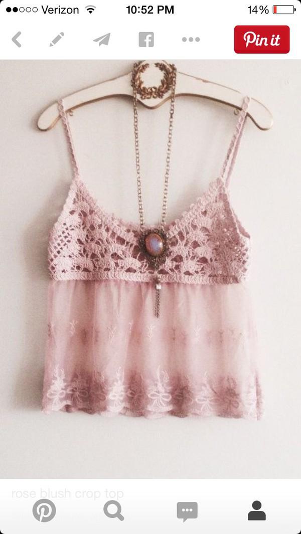 top, jewels, tank top, crochet top, boho, dusty pink ...