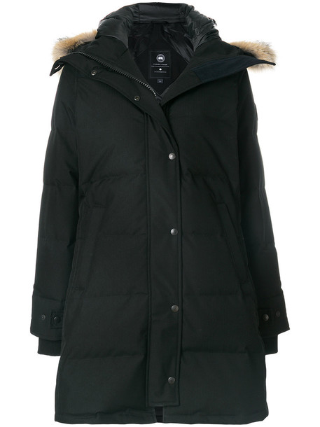 canada goose parka long fur women black coat