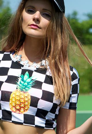 Monochrome checked Pineapple crop top | Miss Lawes Adores | ASOS Marketplace
