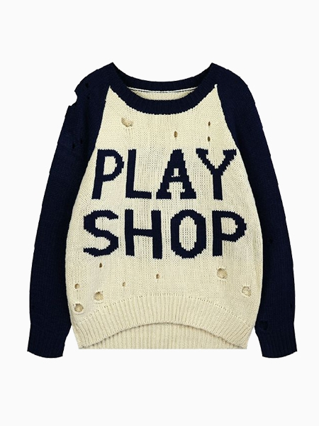 Oversize Hollow Sweater In PLAY SHOP | Choies