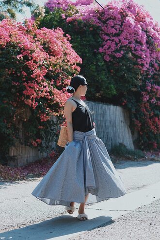 hallie daily blogger tank top top bag skirt shoes