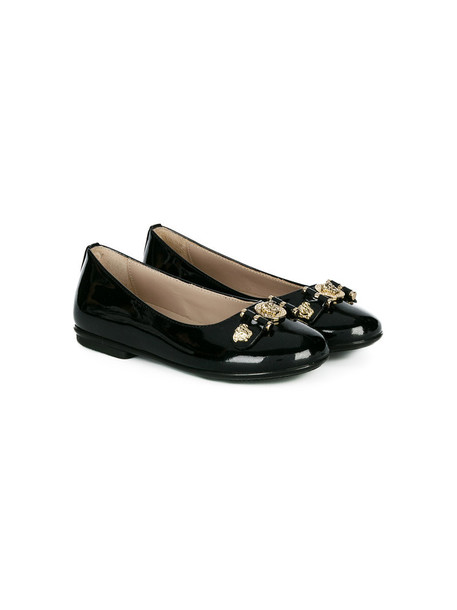 Young Versace embellished leather black shoes