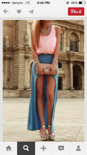 skirt maxi high low