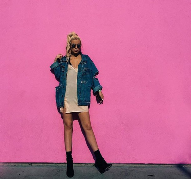 jacket denim ripped tana mongeau dress pink camisole slip dress