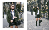 ilirida krasniqi,blogger,bag,green coat,fur coat,leather jacket,leather skirt,mini skirt,black bag,knee high boots,black boots,choker necklace,jewelry,black choker,streetwear