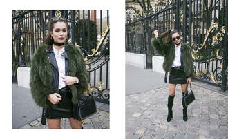 ilirida krasniqi blogger bag green coat fur coat leather jacket leather skirt mini skirt black bag knee high boots black boots choker necklace jewelry black choker streetwear