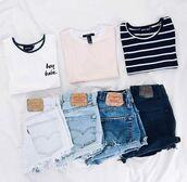 shirt,short shorts,shorts,jeans,light blue,black and white,white,pink,dark,outfit,style,summer,spring,crop tops,t-shirt,tumblr,denim,top,denim shorts,cut off shorts,cut offs,cut off denim,black,blue,acid wash,light washed denim,light wash blue jeans,medium wash jeans,dark wash jeans,blue jeans,cropped,white crop tops,black crop top,pink light,light pink,pink top,stripes,striped top,white top,tees,t shirt.,light pink/peach,peach,coral,cuffed shorts,cuffed denim shorts,high waisted denim shorts,High waisted shorts,pink t-shirt