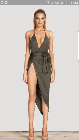 dress wrap dress sexy dress green dress plunge v neck