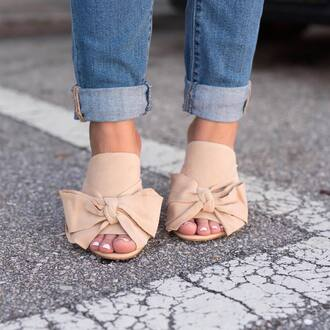 shoes tumblr mules nude shoes bow bow shoes