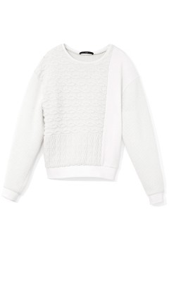 Patchwork Cable Sweatshirt | Shop | Tibi