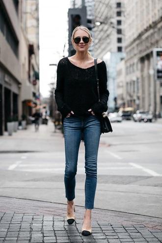 jeans blue jeans sunglasses sweater black sweater shoes pumps aviator sunglasses