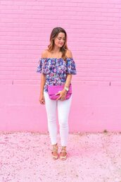 live more beautifully,blogger,jeans,bag,jewels,shoes,off the shoulder,floral top,white jeans,skinny jeans,pink,clutch,lace up,lace up flats,rebecca minkoff,off the shoulder top,floral,sandals,nude sandals,necklace,gemstone