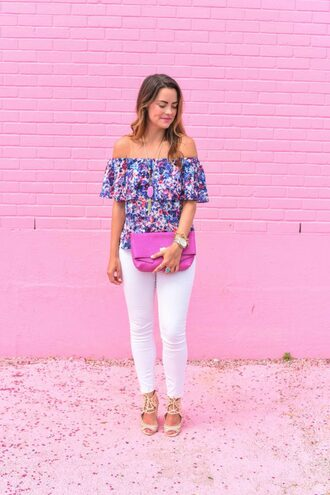 live more beautifully blogger jeans bag jewels shoes off the shoulder floral top white jeans skinny jeans pink clutch lace up lace up flats rebecca minkoff off the shoulder top floral sandals nude sandals necklace gemstone