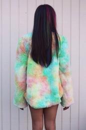 coat,hipster,vintage,indie,rainbow,pastel,colorful,fur,jacket,unif,asos,custom made