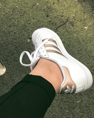 shoes white gold sneakers tennis shoes adidas adidas shoes
