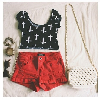 t-shirt shirt cross crop tops black and white shorts fashion girly