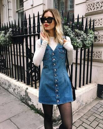dress denim dress tumblr mini dress denim button up top white top sunglasses