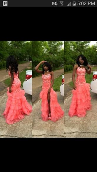 dress prom dress long prom dress strapless dress coral dress peach dress