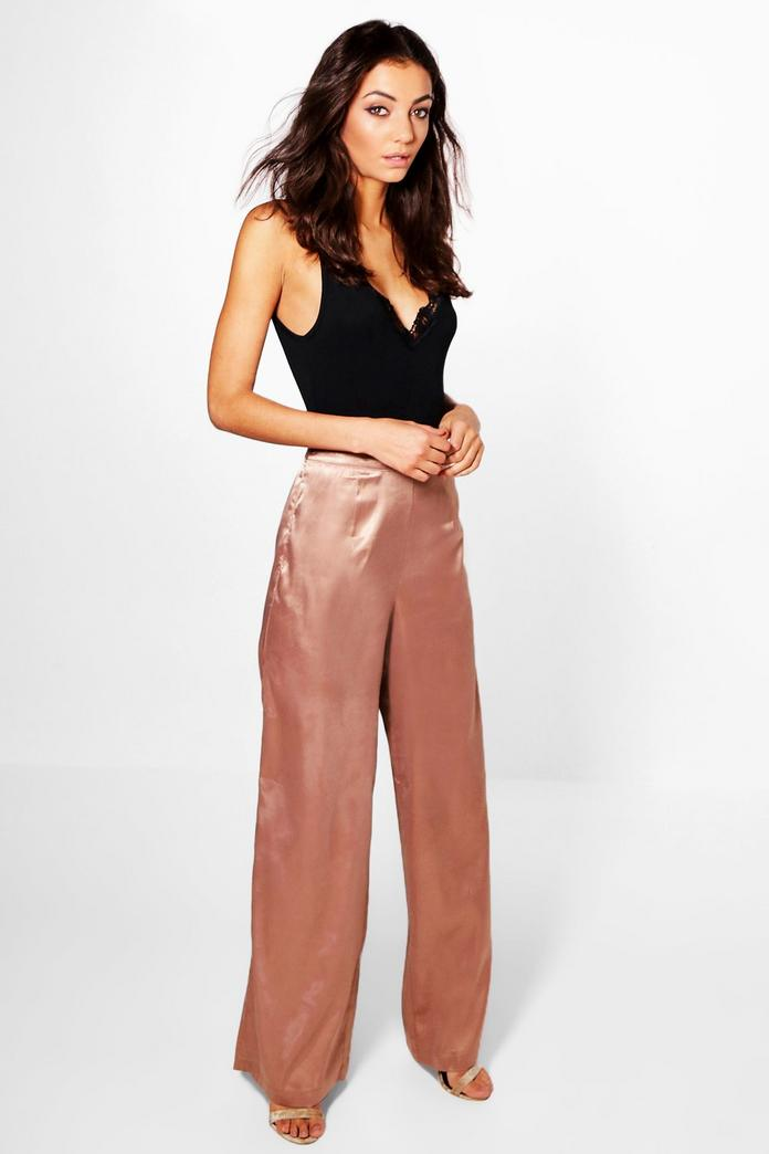 6f237f11a183 Tall Mady Satin Wide Leg Trousers | Boohoo