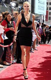 dress,sandals,black dress,short dress,heidi klum,plunge v neck,shoes