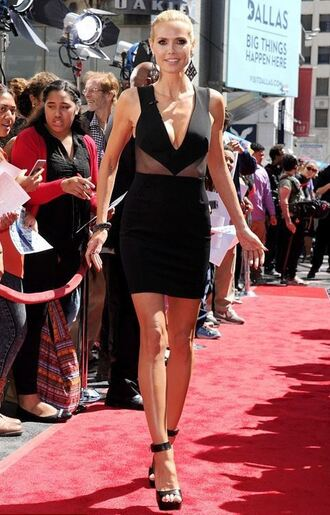 dress sandals black dress short dress heidi klum plunge v neck shoes