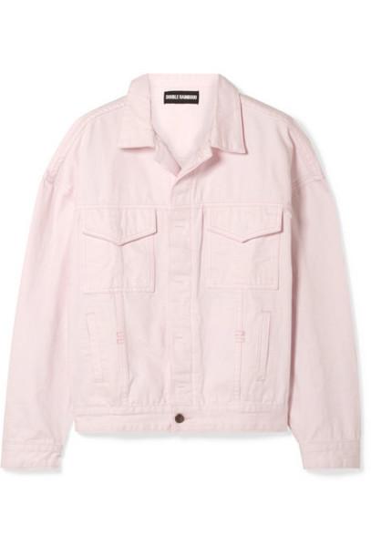 Double Rainbouu - Oversized Denim Jacket - Pastel pink