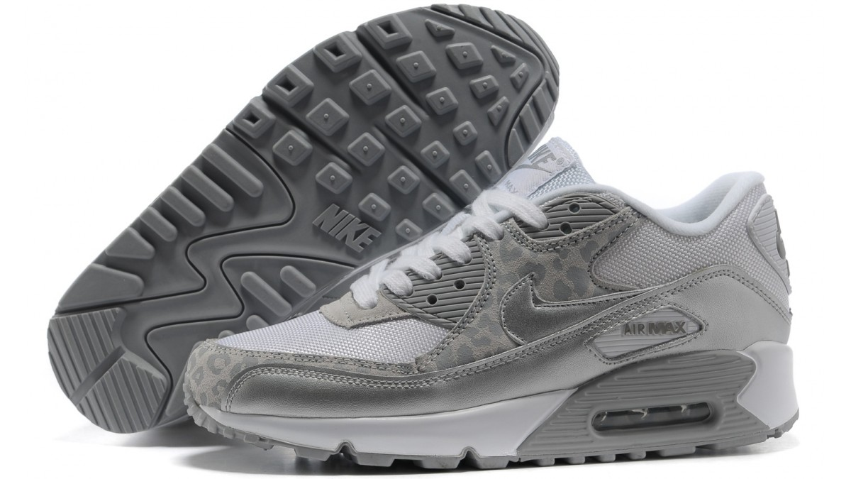 Nike women's air max 90 leopard print white silver (325213
