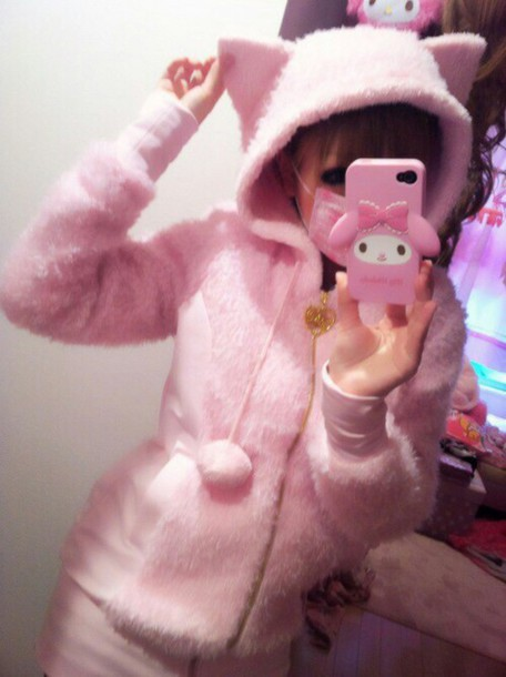 coat pastel pastel pink jacket kawaii kittenplay