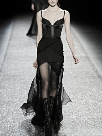 dress black bustier bustier dress sheer maxi high low overlay tight mini sexy runway wrap