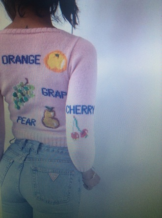 sweater pink pink sweater knitwear knitted sweater cropped sweater tumblr tumblr outfit tumblr girl tumblr clothes fruits