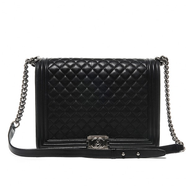 CHANEL Calfskin Quilted Large Boy Flap Black - Polyvore