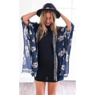 dress dark blue dress printed laced printed dress black cardigan floral cardigan boho striped cardigan kimonoo