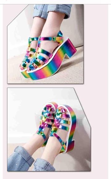 colorful rainbow high heels sandals gladiator