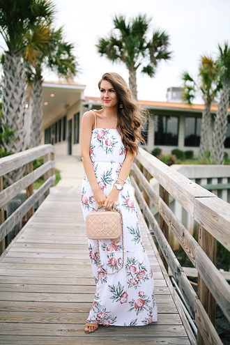 dress chanel tumblr maxi dress floral maxi dress long dress summer dress summer outfits bag chanel bag