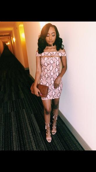 dress bodycon dress printed dress classy party dress clothes heels pink dress cute