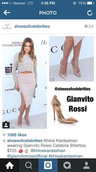 shoes khloe kardashian slit skirt