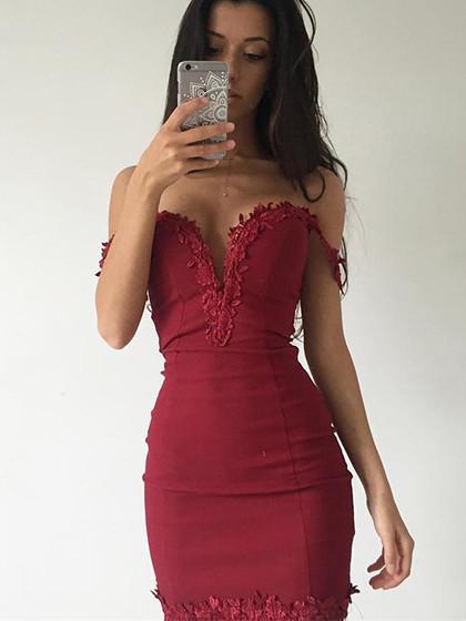 d366756d96b Burgundy Off Shoulder V-neck Lace Trim Bodycon Dress