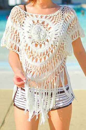top lace white lace crochet hite crochet white white crochet white crochet top white lace top fringed top lace top lace fronge top crochet fringe top crop tops lace crop top casual summer summer collection summer outfits summer top beach beach clothing zaful shorts
