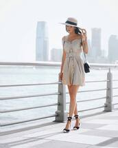 shoes,espadrilles,off the shoulder dress,mini dress,mini bag,straw hat
