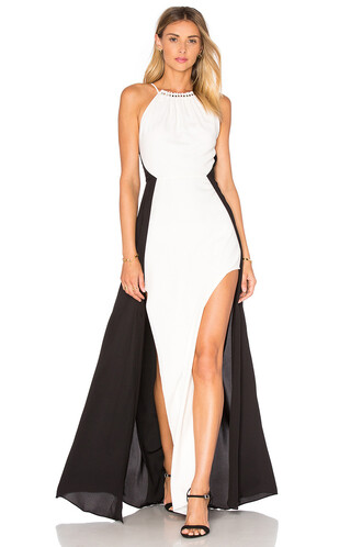 gown colorblock white black