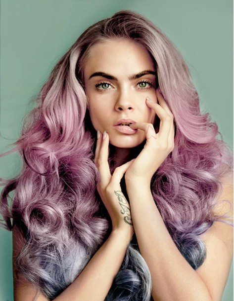 hair accessory blogger cara delevingne model pink hair purple hair