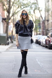 mind body swag,blogger,bag,jewels,marble,sweater,grey skirt,thigh high boots,mirrored sunglasses