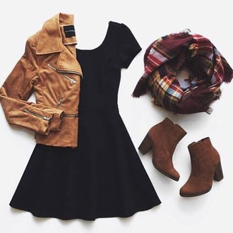 scarf plaid flannel scarf red yellow dress look jacket shoes little black dress skater dress black dress brown jacket black brown plaid scarfs flannel perfecto suede jacket burgundy brand store ankle boots brown boots leather jacket mini dress coat