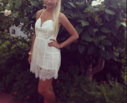 Lovely White Lace Short Dress, Pret..