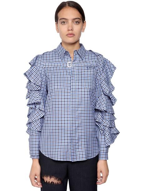 FACETASM Cotton Plaid Shirt W/ Detachable Shrug in blue / white