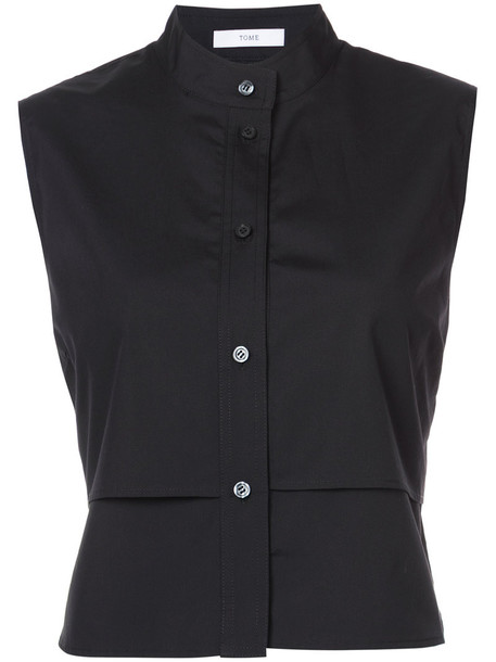 Tome shirt sleeveless women layered cotton black top