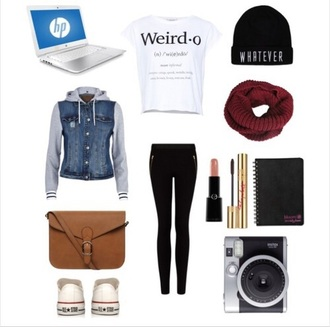 t-shirt white t-shirt black jeans beanie jacket white black bag brown purse make-up mascara lipstick scarf burgundy
