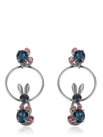 bunny love earrings blue pink grey jewels