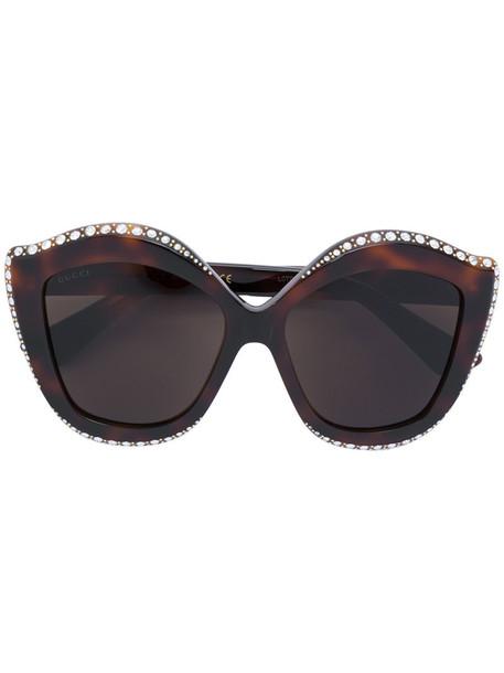 Gucci Eyewear - crystals applique sunglasses - women - Acetate/Swarovski Crystal - 53, Brown, Acetate/Swarovski Crystal
