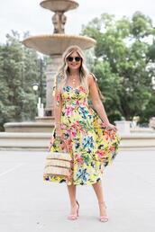 suburban faux-pas,blogger,dress,jewels,bag,sunglasses,shoes,midi dress,floral dress,yellow dress,summer dress,sandals,high heel sandals
